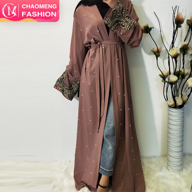 1684-2# dubai kimono cardigan long modest dresses hijabs 2019 muslim designs in pearl lace abaya