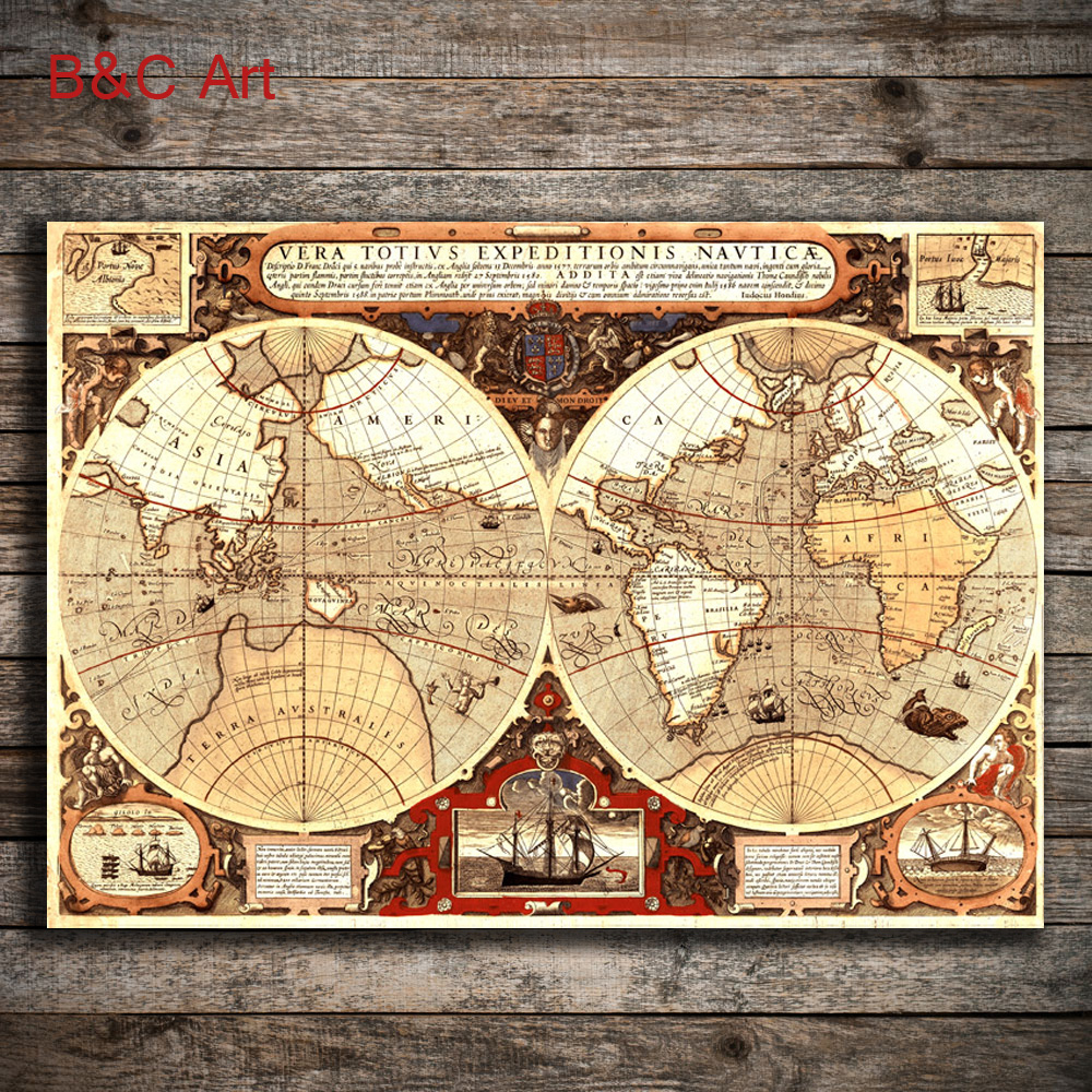 Vintage World Map Art.Wholesale Fine Art Print Vintage World Map For Wall Hanging Buy
