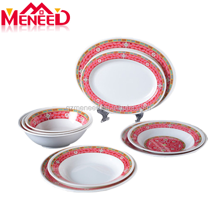 Top seller 2018 unbreakable flexible combination household tableware melamine dinner set