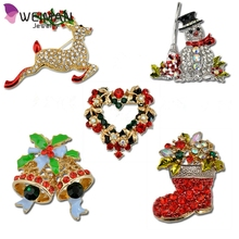 America Style Hot Sale Crystal Rhinestone Christmas Brooches with Sika Deer Wholesale