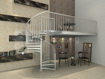 New Design Portable Aluminum Spiral Staircase With Glass Tread