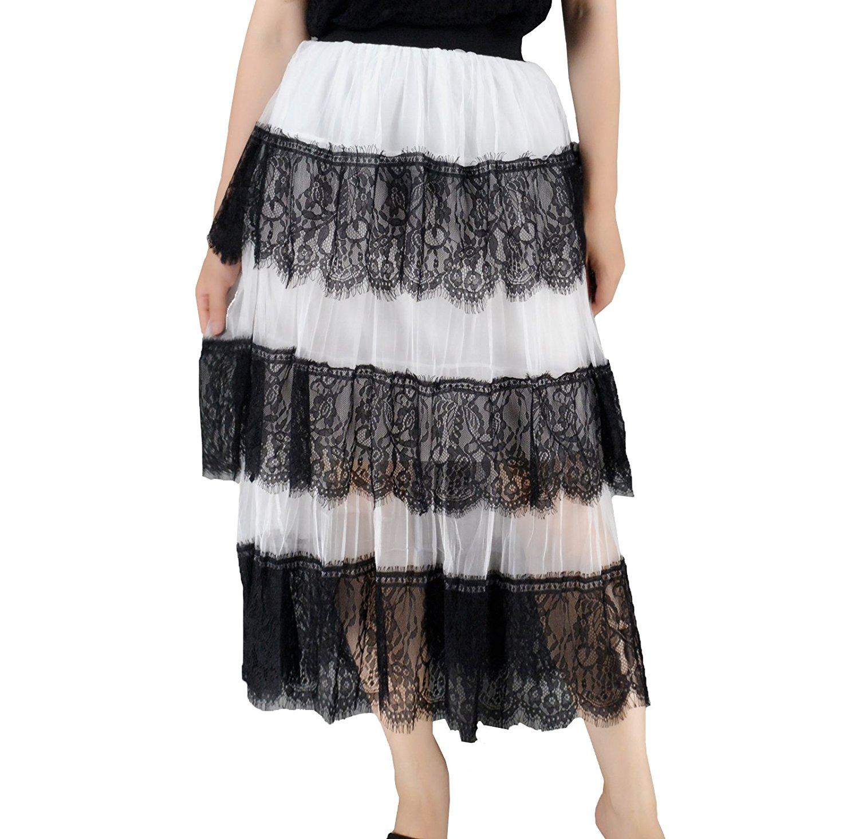 10e03eb50f Get Quotations · YSJ Lady's Chiffon Skirt 3-Layers Irregular Hem Summer Long  Skirts (White)