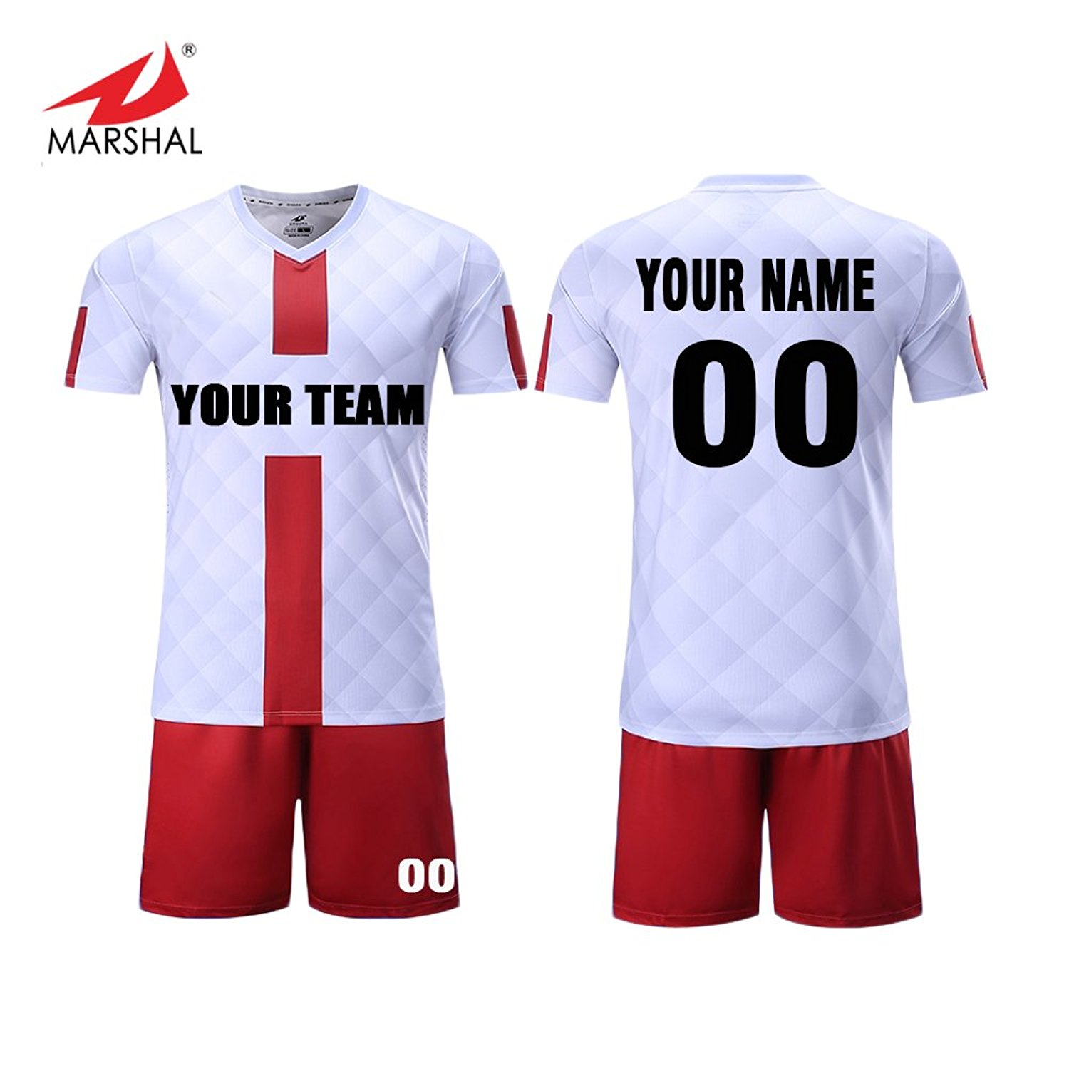 e64f3cd0 Get Quotations · Marshal Jersey 4 Colors Custom Soccer Jersey Set Full  Sublimation Sportswear Custom Men's Uniform Suit,