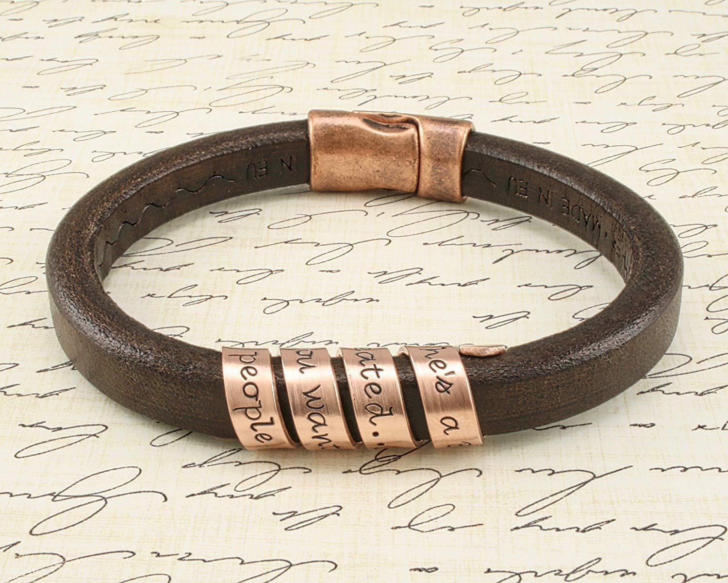 57a40b2b5fe8 Get Quotations · Men s COPPER SPIRAL Secret Message bracelet - CUSTOM  MESSAGE - On Brown Leather - Hand Stamped
