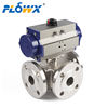 "DN15 1/2"" DN50 DN100 DN250 PN25 Pneumatic Actuator 3-way Flanged Stainless Steel Ball Valve"
