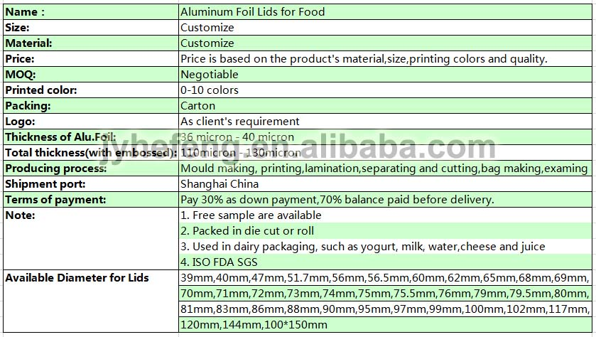 Aluminum Foil Sealing Lids For Yogurt Cups Coated With Pp Film ...