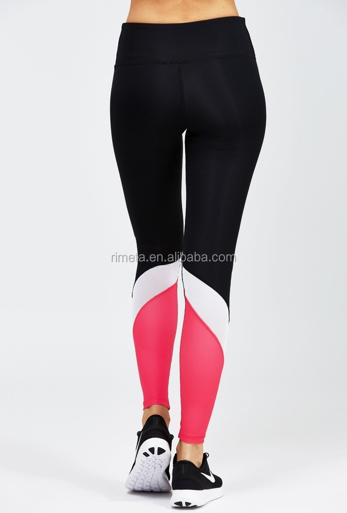 Ladies color contrast mesh sports legging yoga pants athlete work our fitness wear