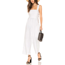 Long loose custom made white linen ladies jumpsuit