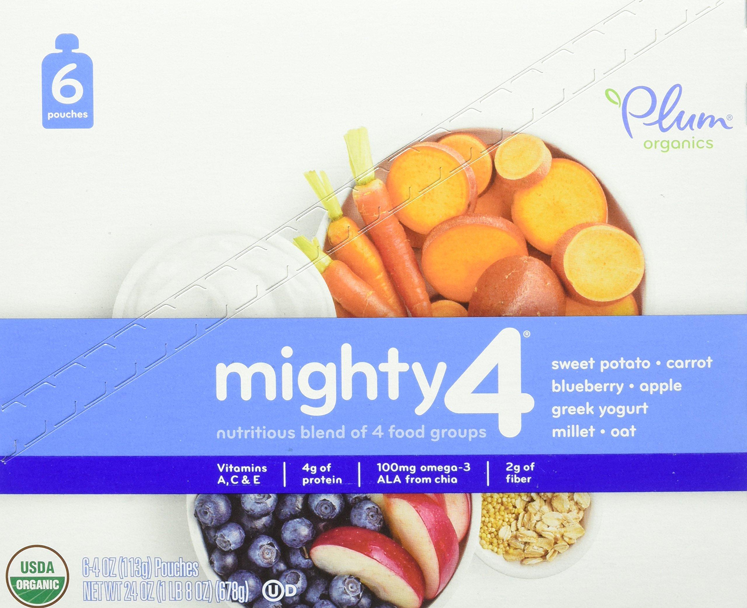 Plum Organics Mighty 4, Organic Toddler Food, Sweet Potato, Carrot, Blueberry, Apple, Greek Yogurt, Millet & Oat, 4 ounce pouch (Pack of 12)