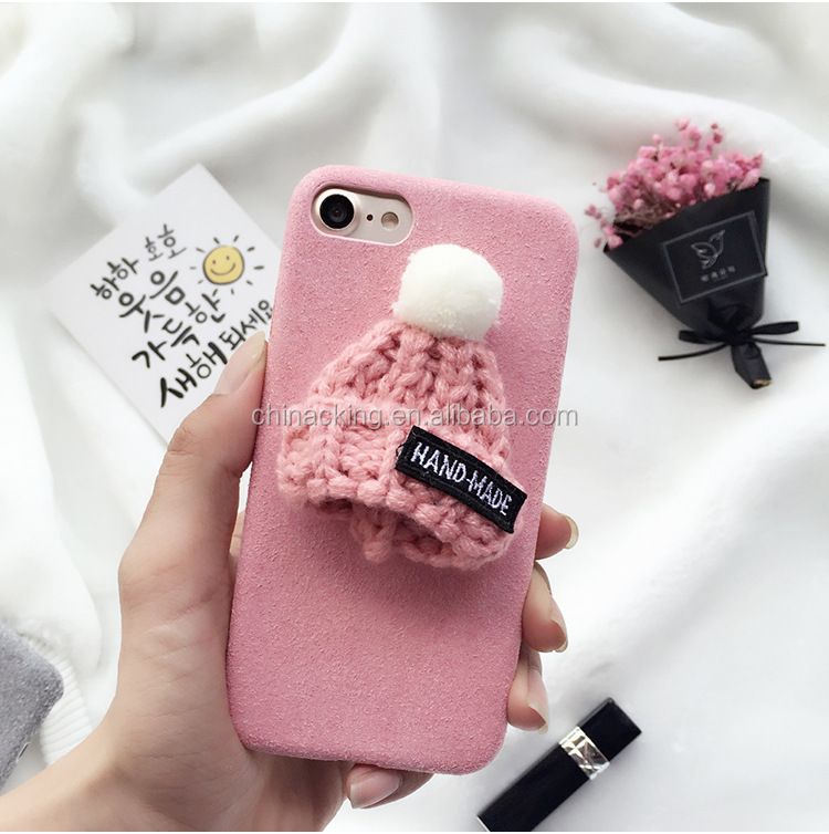 For iPhone X Case For iPhone 5 6 6s Plush Knitted Christmas Cap Cell Phone Accessories Case For iPhone 6s 7 Plus 5s 6 7 SE X