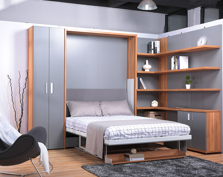 Lovely Shenzhen Matrix Furniture Vertical Double Wall Bed With Bookshelf And  Office Table   Buy Wall Bed,Double Bed,Double Wall Bed Product On  Alibaba.com