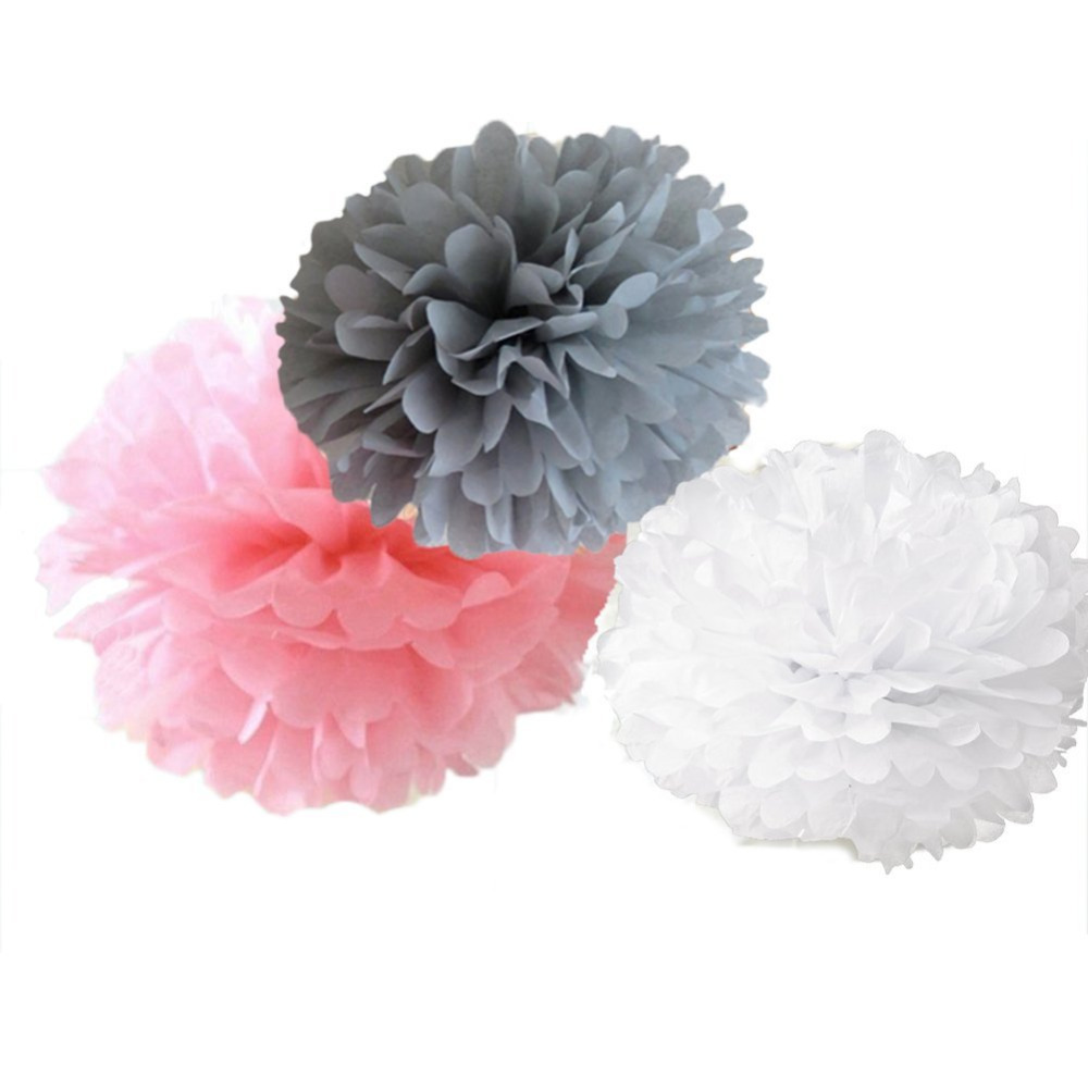 Birthday party backdrop tissue paper pom poms product on alibaba com - Get Quotations 6 Mixed White Gray Pink Party Tissue Pompoms Paper Flower Pom Poms Wedding Birthday Anniversary Party