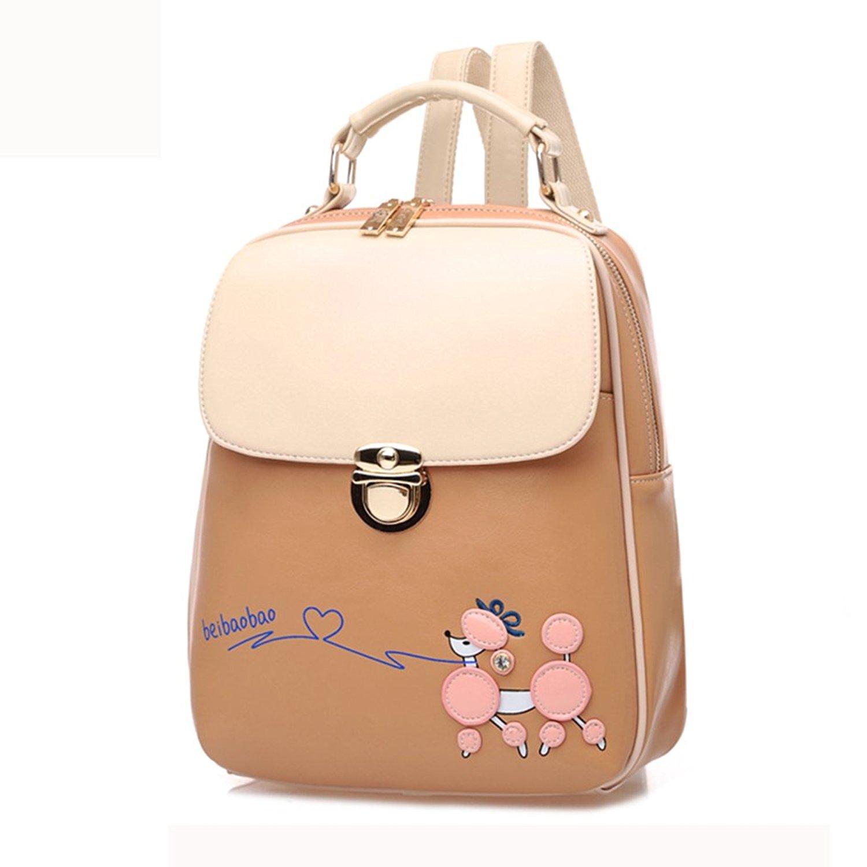 FAIRYSAN Girls Fresh Style Backpack Leather Shoulder Bag Travel Weekend Bookbag