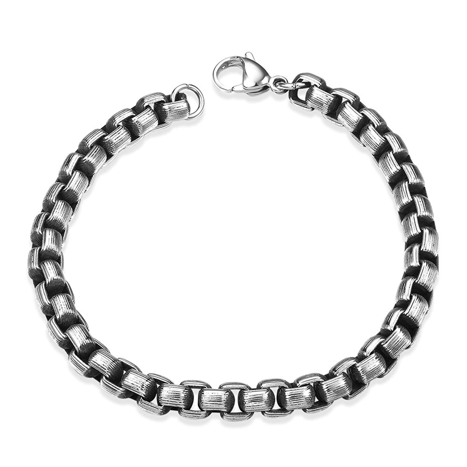 IVYRISE Black Silver Tone Mens Jewelry Punk Style Thick Chain Bracelet 316L Stainless Steel, 8 INCH Mens Bracelets