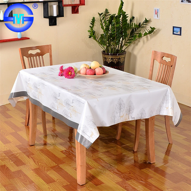 Eco Friendly Printed White Tablecloth With Burlap Runner Places To Buy  Tablecloths