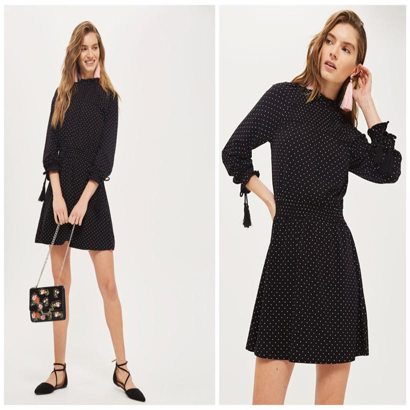 Women s Spot Shirred Waist Wholesale Modern Elegant Long Sleeve Sway Hem  High Neck Skin Tight Sexy Black Short Skater Dress 9aec7f75f