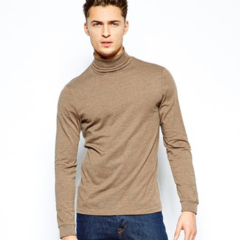 High neck t shirt for men long sleeve t shirt with roll for High neck tee shirts