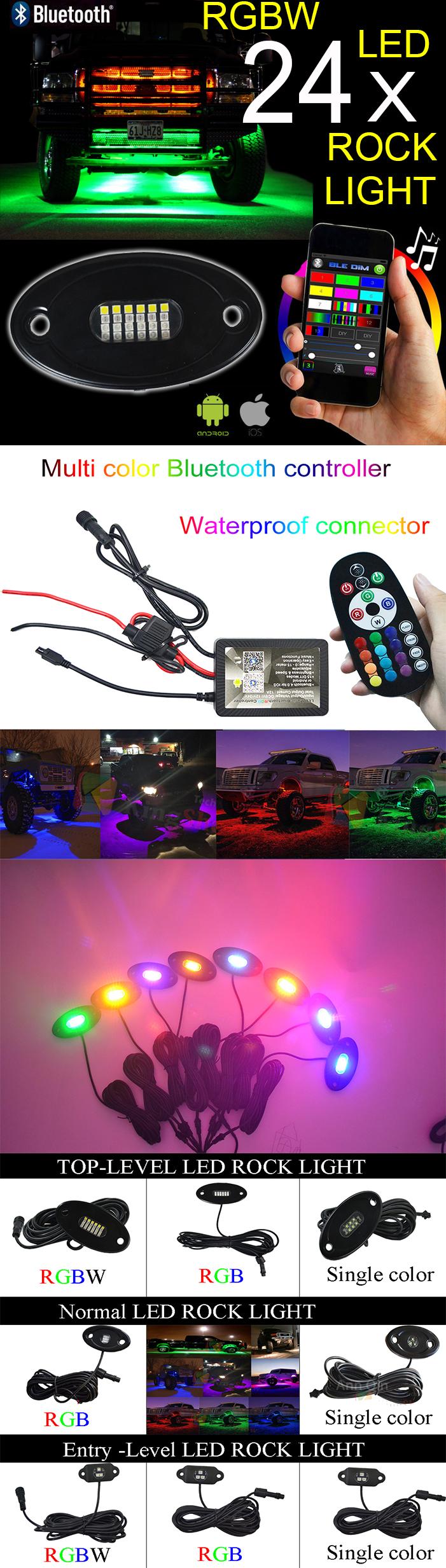 8 फली RGBW एलईडी रॉक रोशनी-बहुरंगा Underglow नीयन प्रकाश किट के साथ ब्लूटूथ नियंत्रक, संगीत मोड