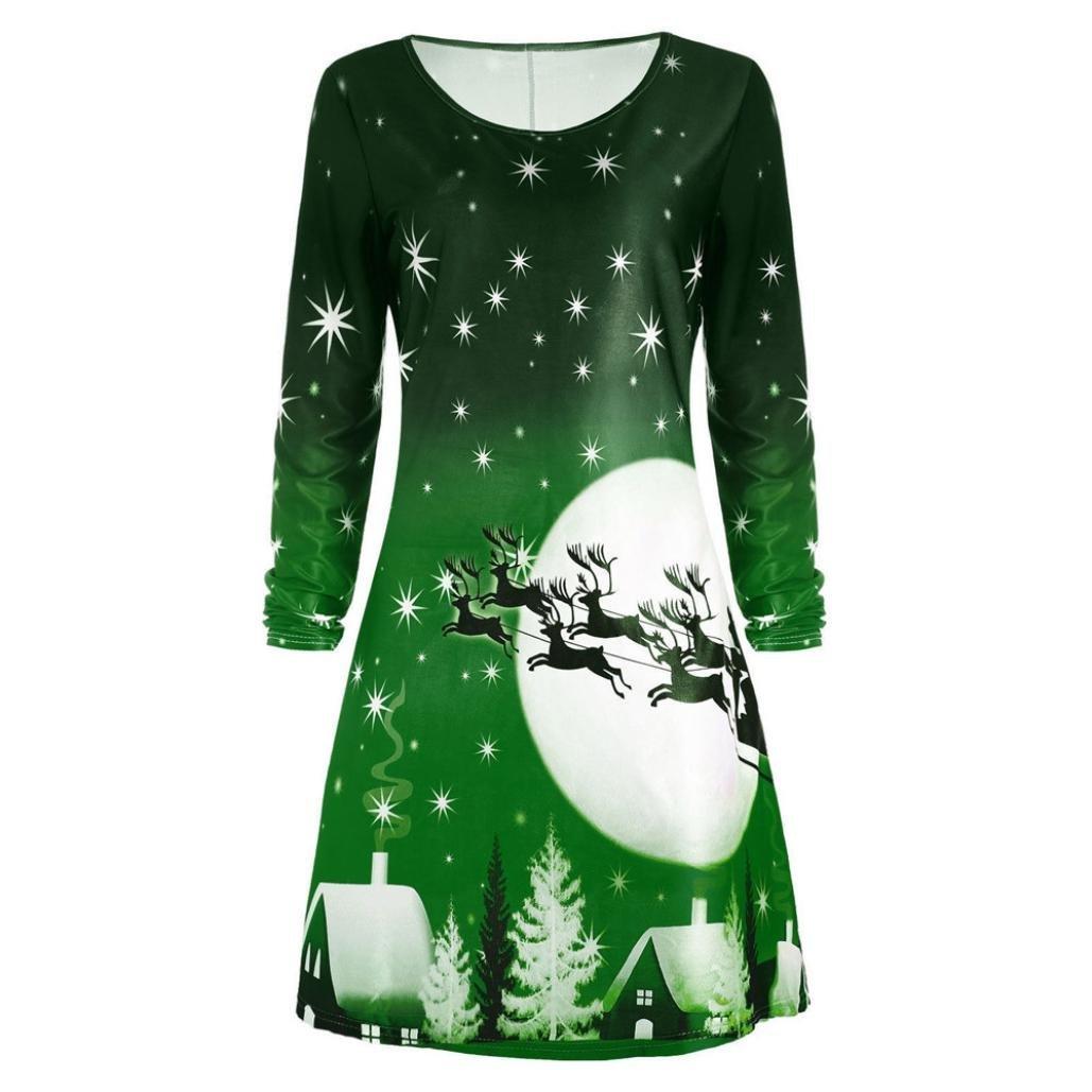 751734618e5fb Get Quotations · Christmas Dresses Women,Hemlock Womens Christmas Tops  Ladies Christmas Party Dress Knee Length Dress (