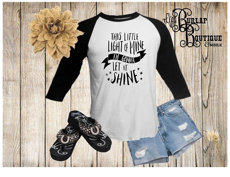Handmade, This little light of Mine I'm gonna let it shine, BELLA + CANVAS, Unisex, 3/4 Sleeve, Raglan, Baseball, Tee, T shirt