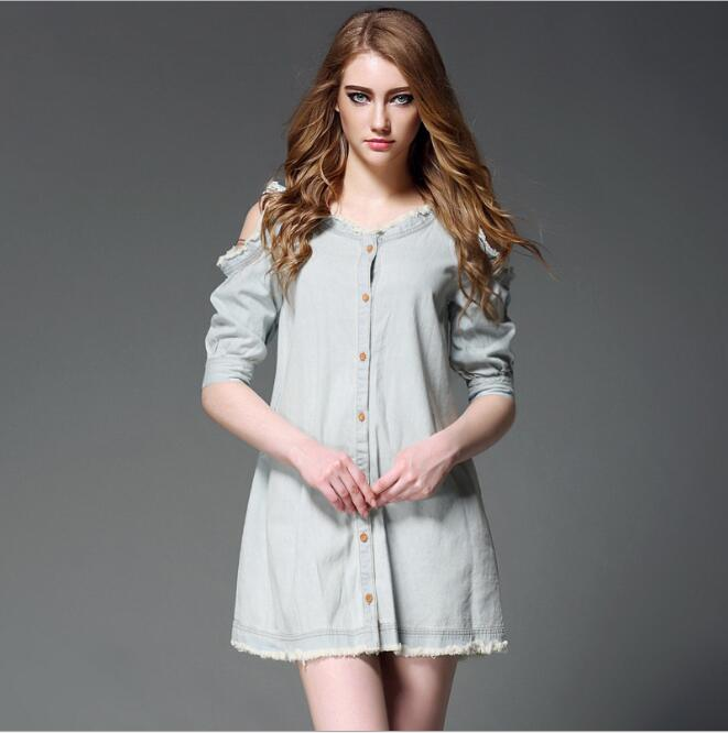 cy10598a fashion apparel elegant ladies Jeans long sleeve girl's casual dress