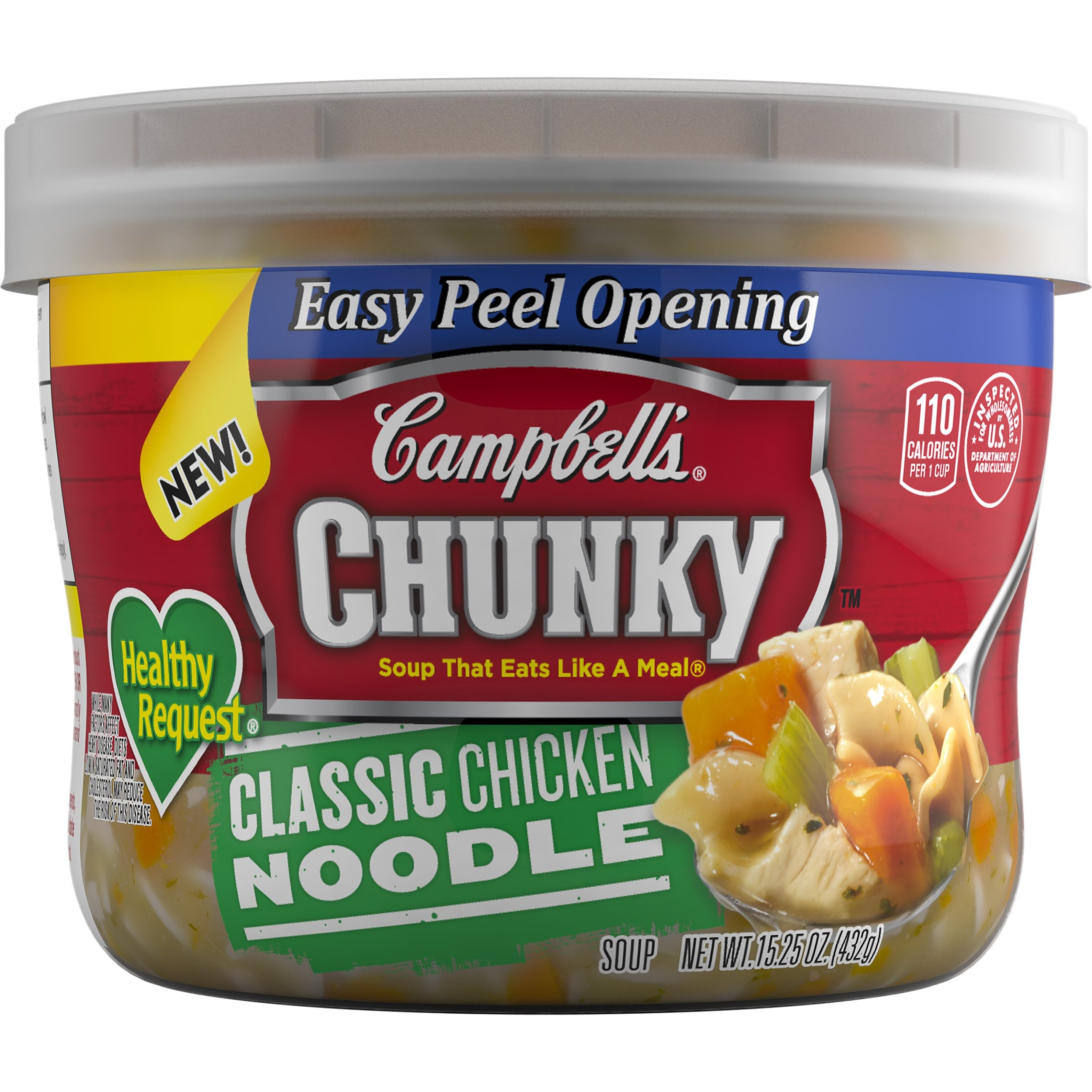 Campbell's Chunky Healthy Request Soup, Classic Chicken Noodle, 15.25 Ounce (Pack of 8) (Packaging May Vary)