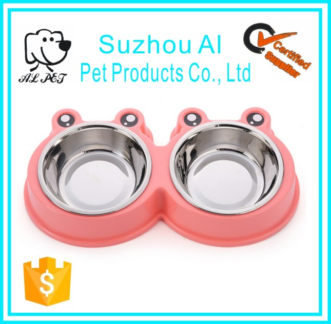 Colorful Cute Cartoon Frog Antislip Pet Stainless Steel Dog Bowl