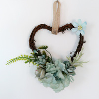 Wholesale artificial silk heart shaped framerattan wreath for home decor