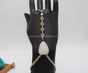 new luxury white gemstone setting hand chain slave bracelet ring for women