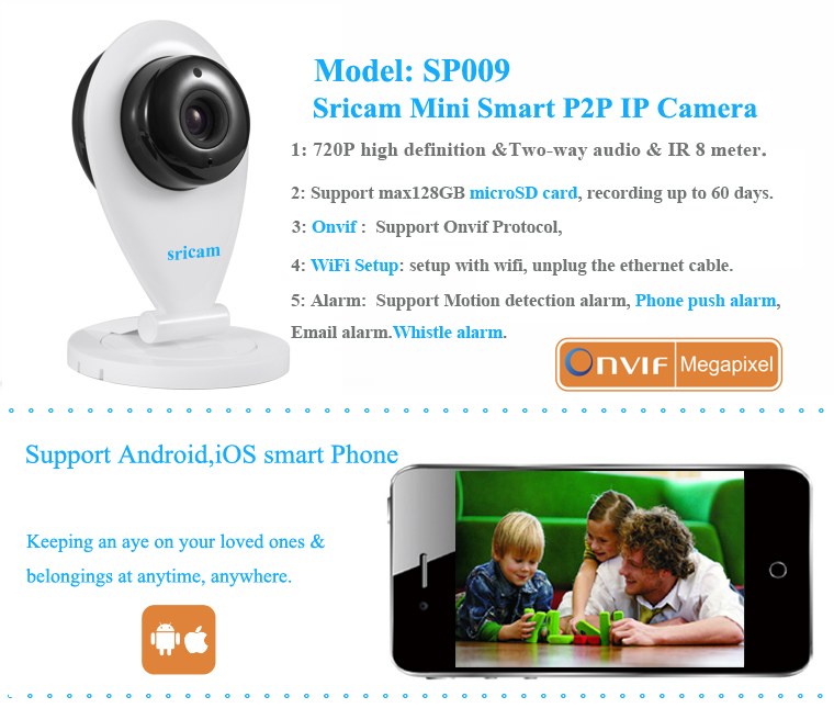 Sricam Micro SD card Baby Monitor For Smart Home Life onvif