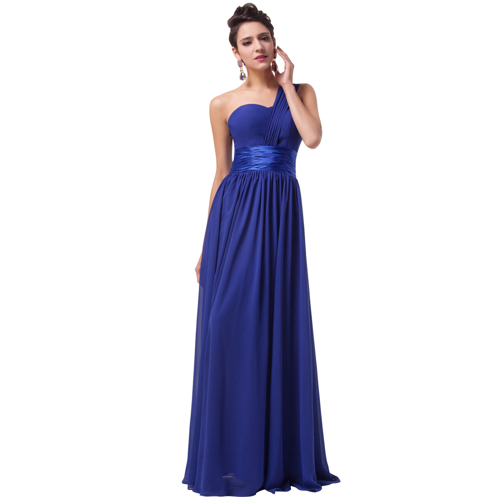 Long Gowns For Wedding Guests: Grace Karin One Shoulder Royal Blue Chiffon Long Evening