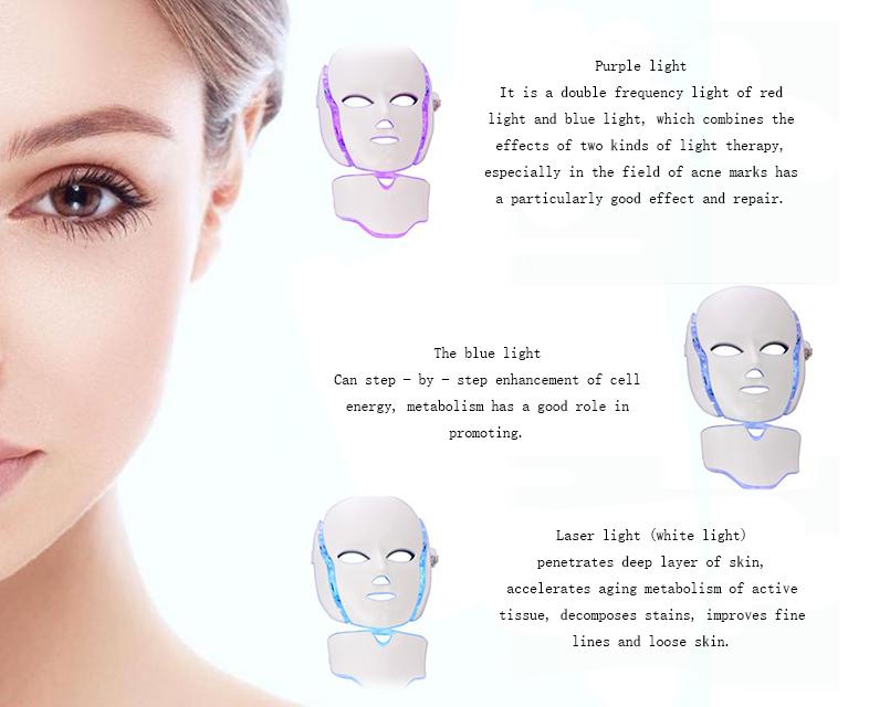 2019 Più Nuovo Anti-aging PDT Macchina di Bellezza di Terapia Della Luce Led Maschera per Il Viso 7 Colori Ringiovanimento Della Pelle maschera per il Viso LED