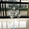 Best selling 80cm tall large candelabra crystal home decorative candle holder with glass 5 heads hurricane