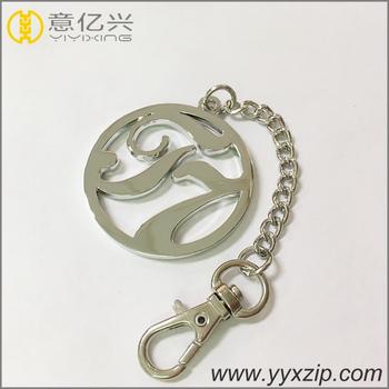 Popular metal label handbag round tag shiny silver personalized keychain 9669cd849