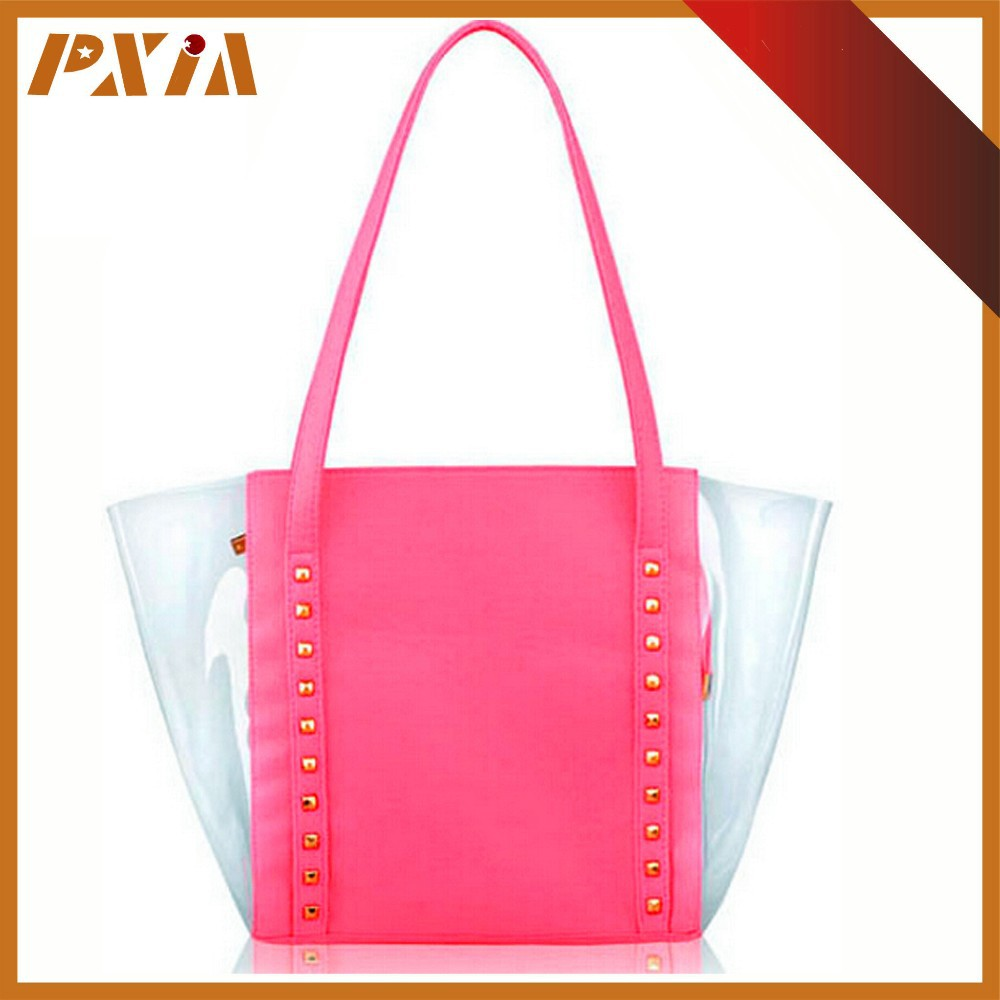 Candy Color Waterproof PVC Beach Swimming Boston Style Tote Bags Top Handle Bags for Women,Girls