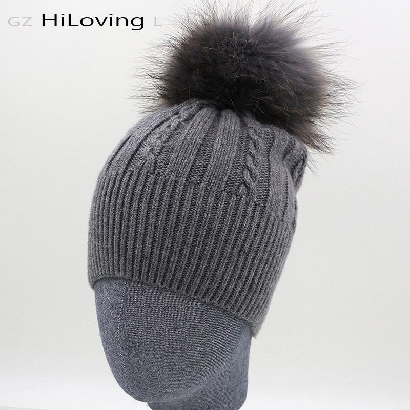 77b2f78e13491 2016 Brand Womens Winter Hats Wool Rabitt With Raccoon Fur pompoms Knitted  Warm Hats For Women