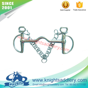 SS KIMBERWICKE HORSE BIT with Hooks and Curb Chain