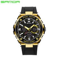 2017 Sanda 733 Men Dual Time Chronograph Sports Watch Male LED Digital Waterproof Shock Resistant Stopwatch Outdoor watch