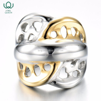 Wholesale custom 316 stainless steel gold couple promise rings