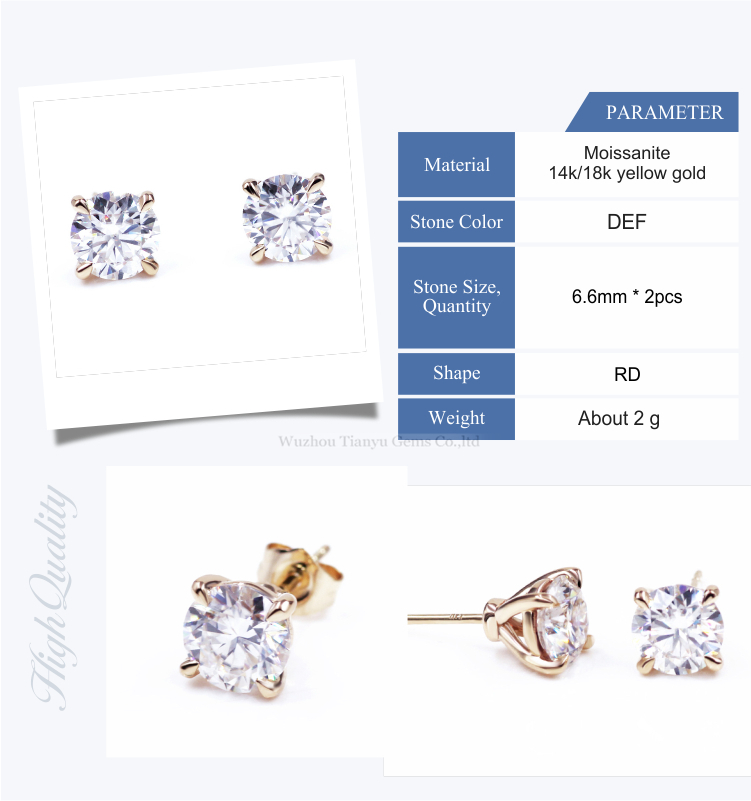 Tianyu customized 14k/18k yellow gold martini earring  1ct round heart&arrow colorless moissanite stud