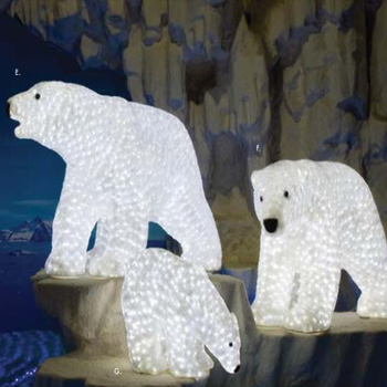 outdoor commercial grade led acrylic animals figures led polar bear christmas lighted decorations