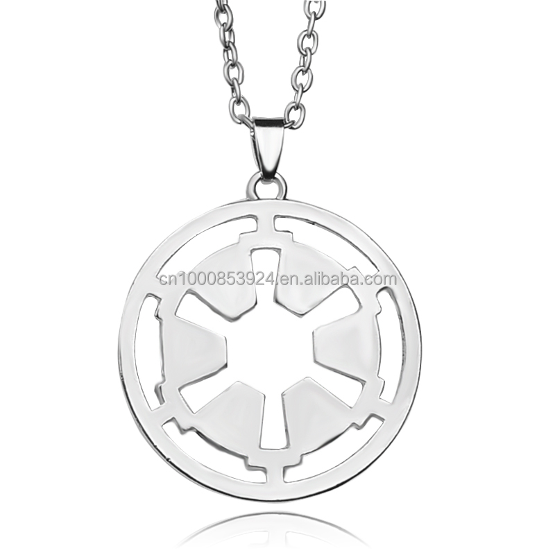 Hollow Star-Wars Galactic Empire Chain Necklace High Quality Women And Men Round Pendant Necklace