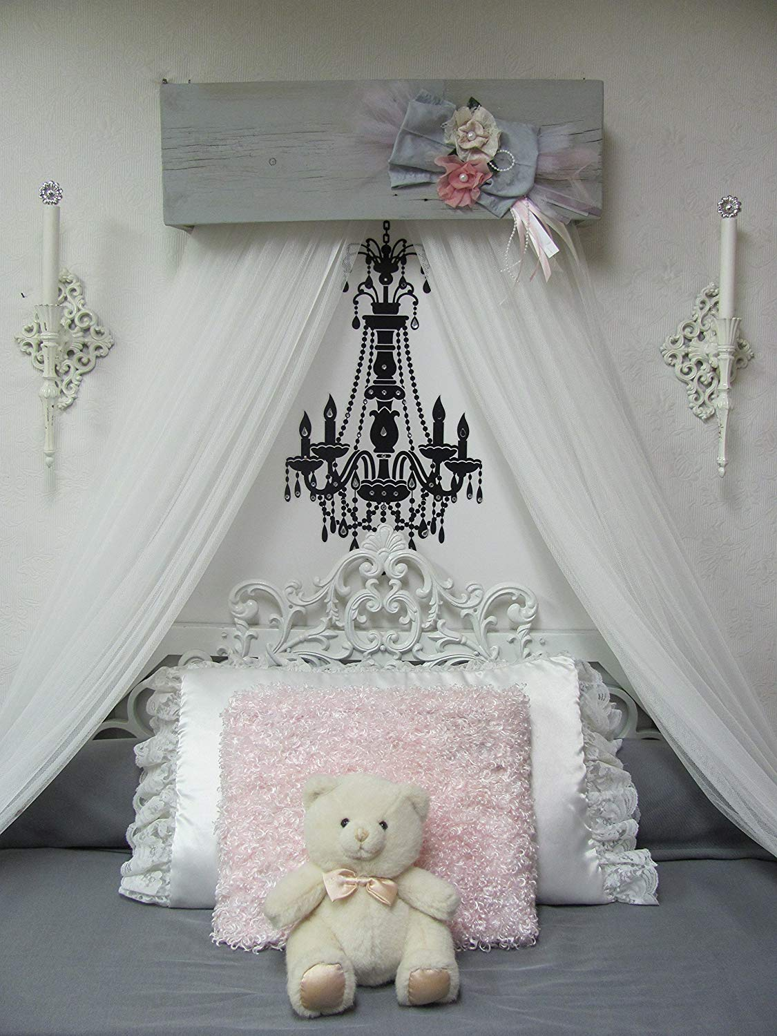 Nursery Decor Shabby Chic Princess Bed Girls Bedroom Crib Canopy Baby Gray Pink Ivory FREE White curtains Vintage inspired Chalk paint SALE