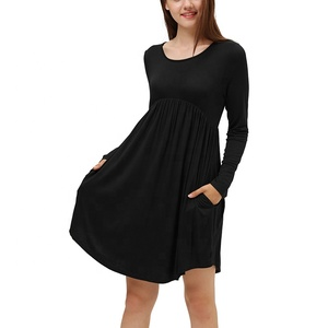 Women Long Sleeve Pocket Casual Loose Swing Elegant Midi Tent T-Shirt Dress