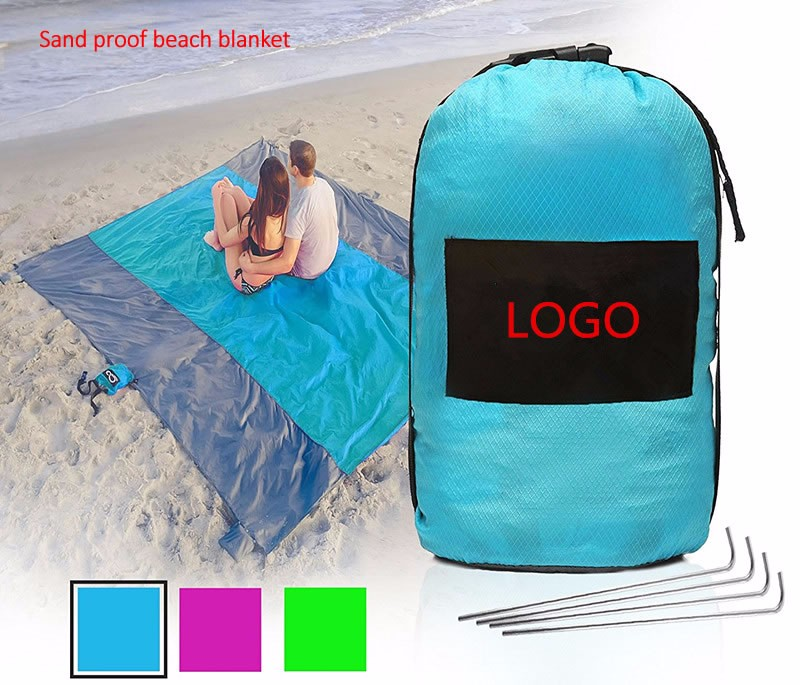 Family Beach Blanket: Fast Drying Microfiber Pocket Beach Towel Blue Sand-less