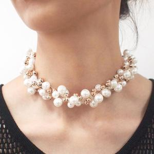 Charm Golden Beads Necklace Pearl Chokers Women Fashion Collars Colorful Imitation Pearl Necklace Jewelry Wedding Chokers