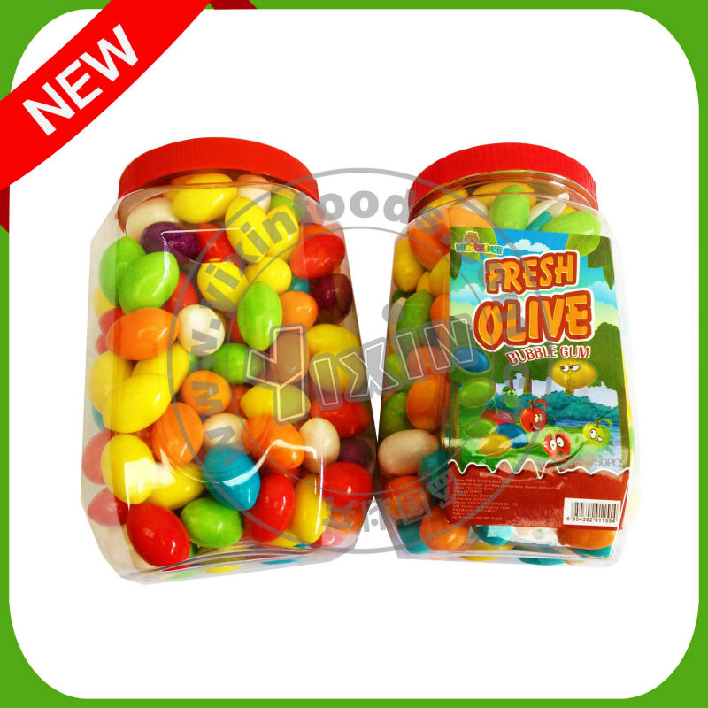 fruit flavors colorful 5 to 6g Olivary olive shape bubble gum