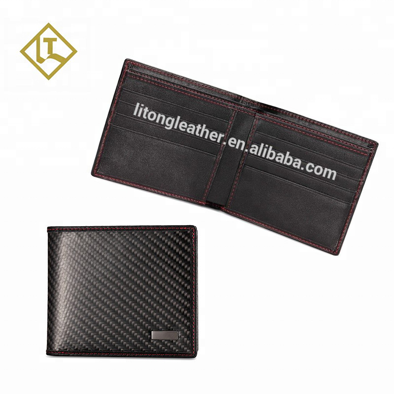 Manufacturer professional high-end printing embossed custom logo light weight men minimalist rfid carbon fiber <strong>wallet</strong>