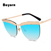 Fashion Crystal Eyebrow Women Cat Eye Sunglasses Brand Designer Half Frame Ladies Pink Reflective Glasses