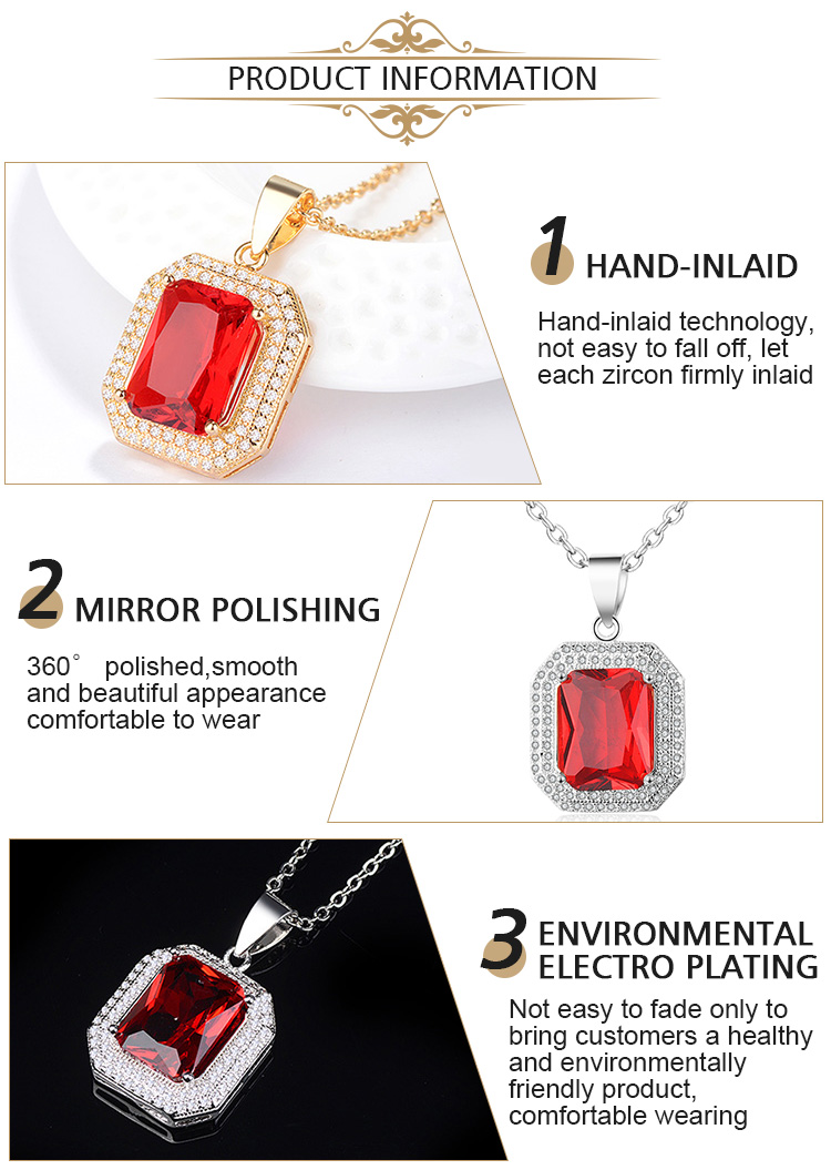 Hengdian Big Gemstone Jewelry Crystal Pendant Necklace Ruby Necklace